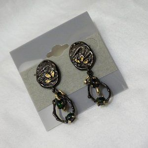 Handmade Jewelry - Black Opal Sterling Silver Earrings, Blk Rh/Gold P